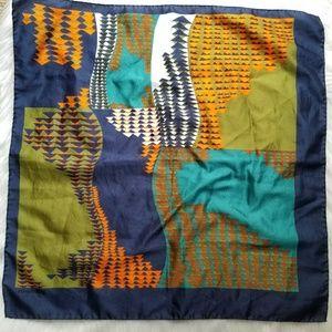Vintage Accessories - Vintage Jacqmar scarf geometric navy blue orange